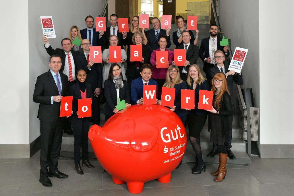 """86 Prozent der Mitarbeiter finden: """"Die Sparkasse Bremen ist alles in allem ein sehr guter Arbeitsplatz!"""""""