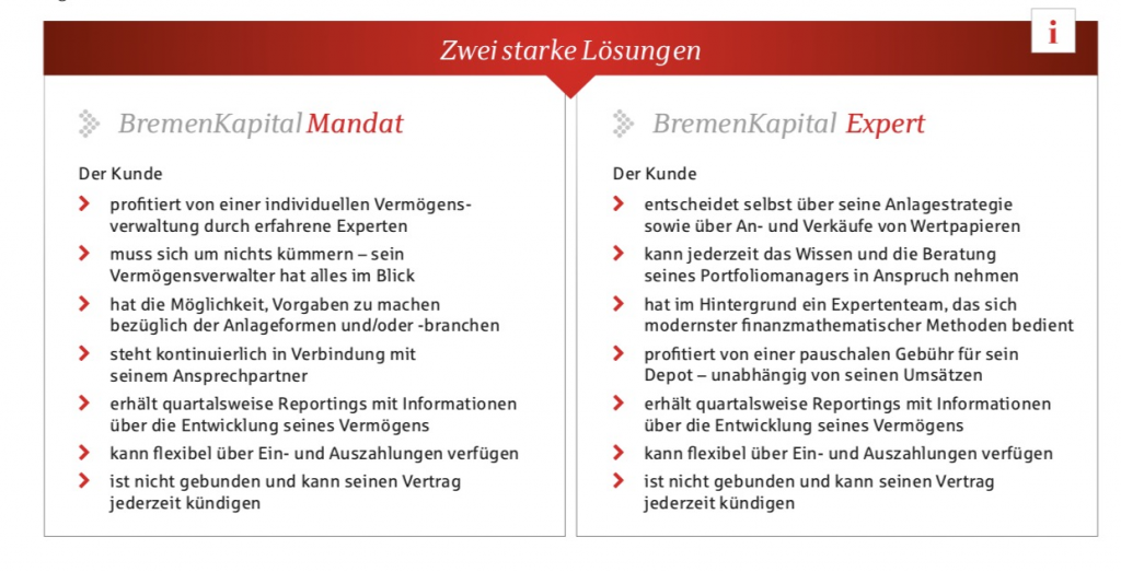 BremenKapital Mandat und BremenKapital Expert