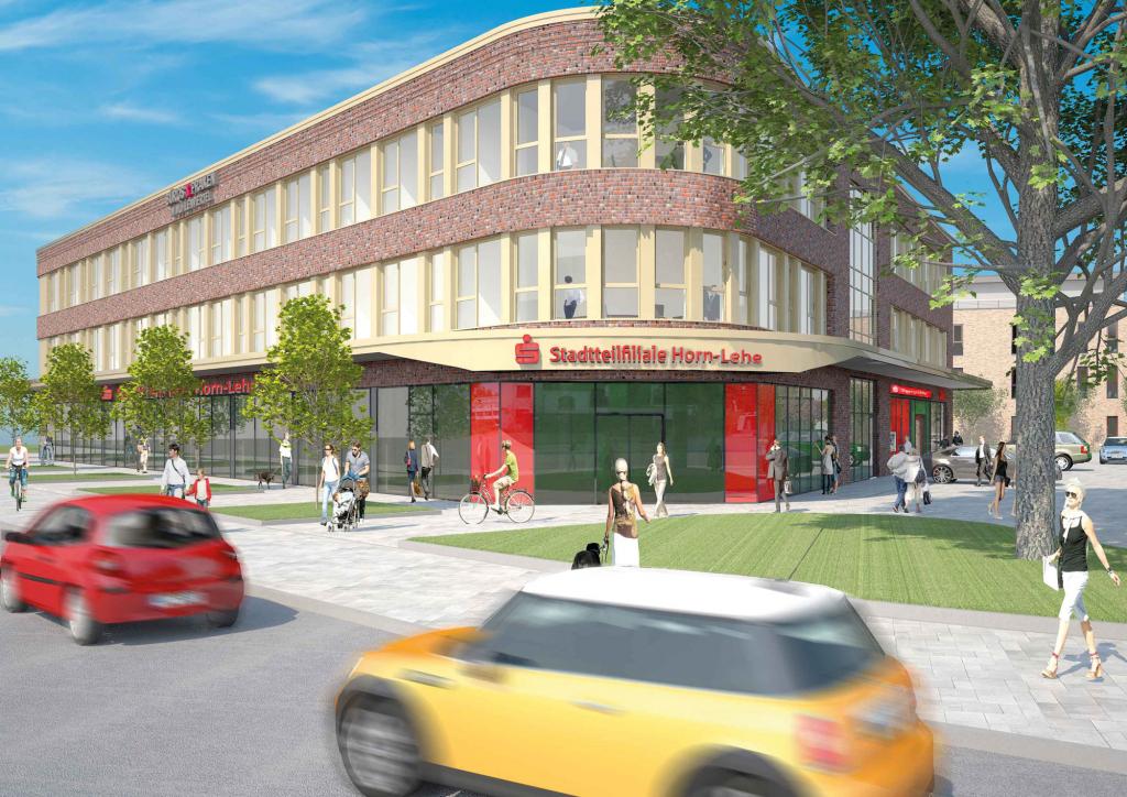 Entwurf der Frontansicht der neuen Stadtteilfiliale Horn-Lehe (c) Die Sparkasse Bremen